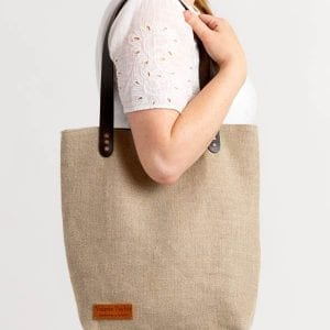 Irish Linen Aoibh Cream shopping bag