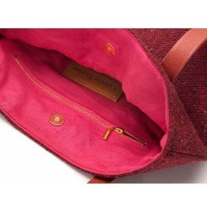 tweed toby tote burgundy bag