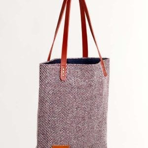 tweed toby tote burgundy stripe bag