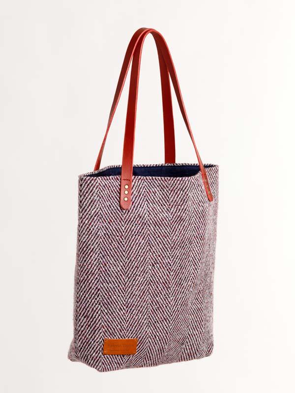 tweed toby tote burgundy stripe bag